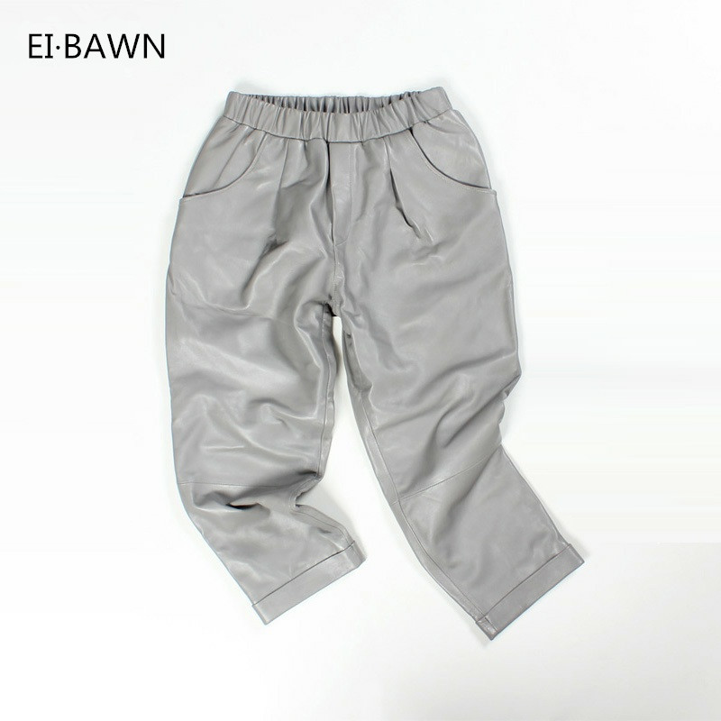 EI BAWN Real Leather Sweatpants Black Gray Korean Fashion Leather Pants Elastic Waist Streetwear Casual Genuine Sheepskin Pants