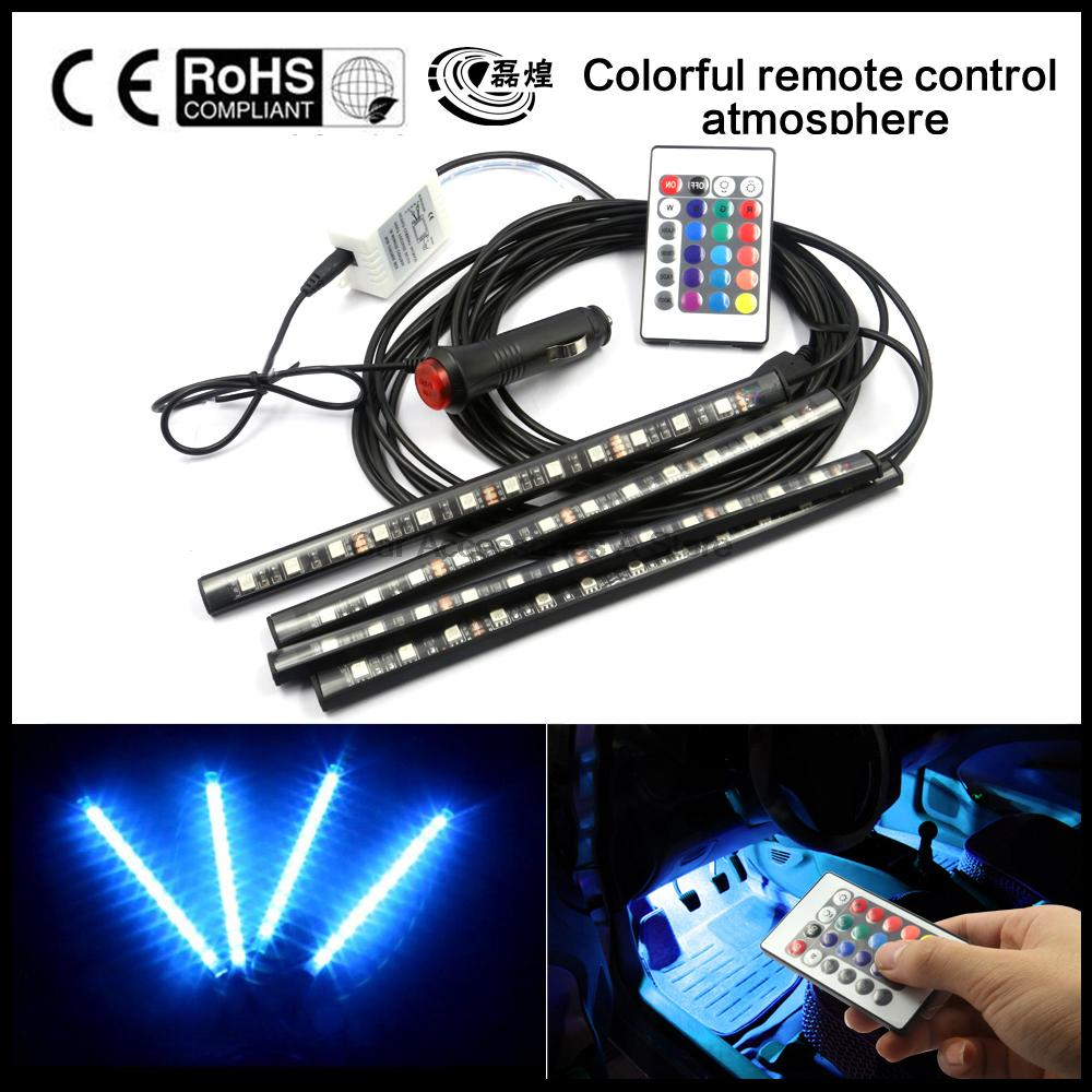 2016 7 Color Flexible Car Styling RGB LED Strip Light Car Interior Light with Remote Control Atmosphere Decoration Lamp sencart 3 led rgb light motorcycle car decoration handle lamp silver black 3 x lr44 2 pcs
