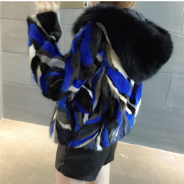 2018 nouvelles femmes naturel pièce veste en fourrure de vison avec capuche véritable renard col de fourrure véritable fourrure manteau court hiver chaud femme outwears