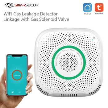 цена на SMARSECUR Wi-Fi  Leakage GAS Detector Alarm For Tuya Smart life Smart Home Security System work with with manipulator