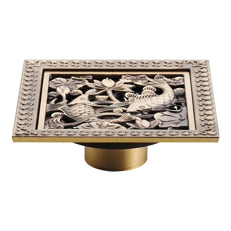 Free shipping 12cm square floor waste drain cover antique for 12 inch floor drain cover