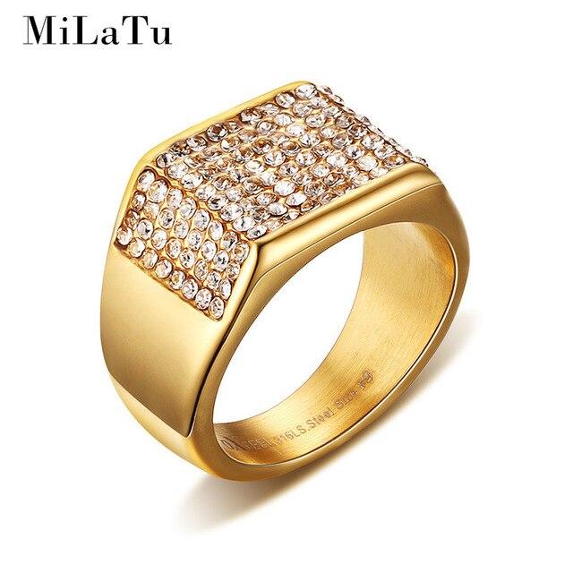 MiLaTu Luxury Cubic Zirconia Wedding Rings For Men Gold color