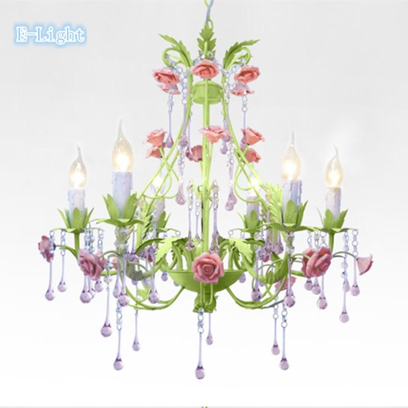 6lamps Crystal Chandeliers Bedroom Lamp Rose Flower