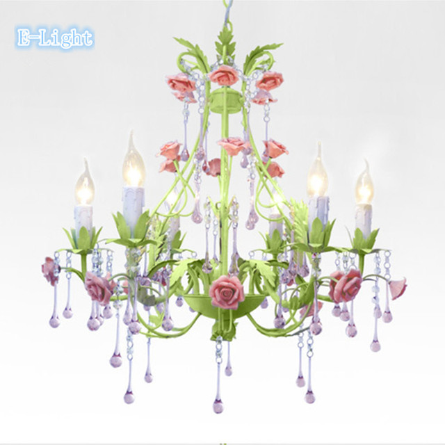 6Lamps crystal chandeliers bedroom lamp Rose flower personalized ...