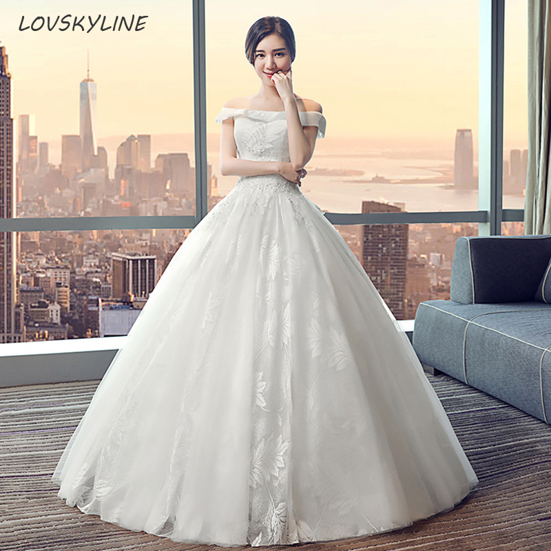 Elegant Lace Princess Wedding Dress  Leaves Embroidery Design Fashion Bride Wedding Dresses Vestido De Noiva Plus Sizes
