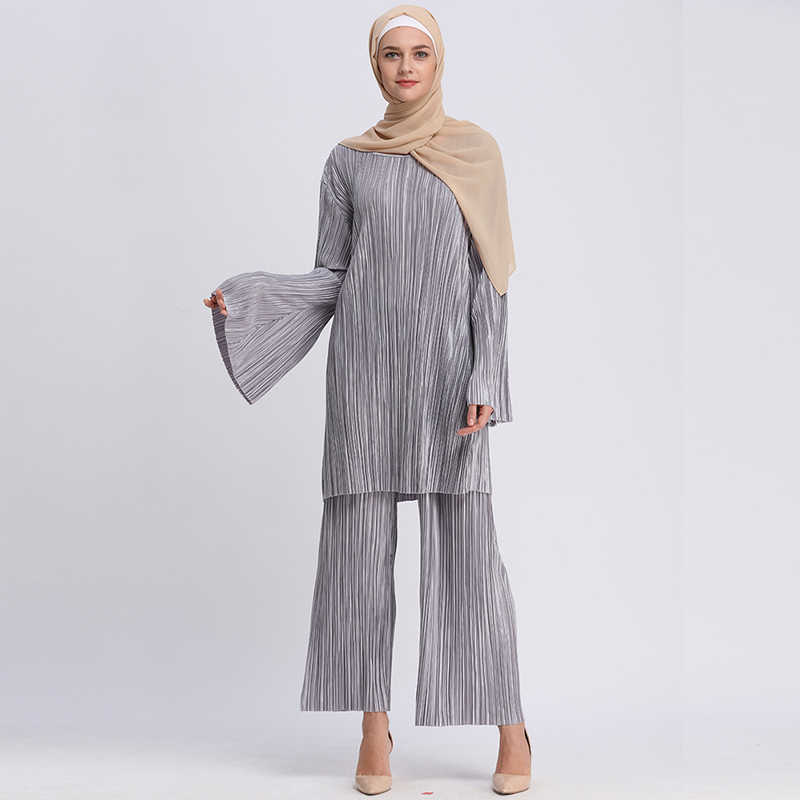 6ebfa7e41c9 Plus Size Abaya Bangladesh Muslim Hijab Two Piece Set Pleated Long Sleeve  Top   Pants Abayas