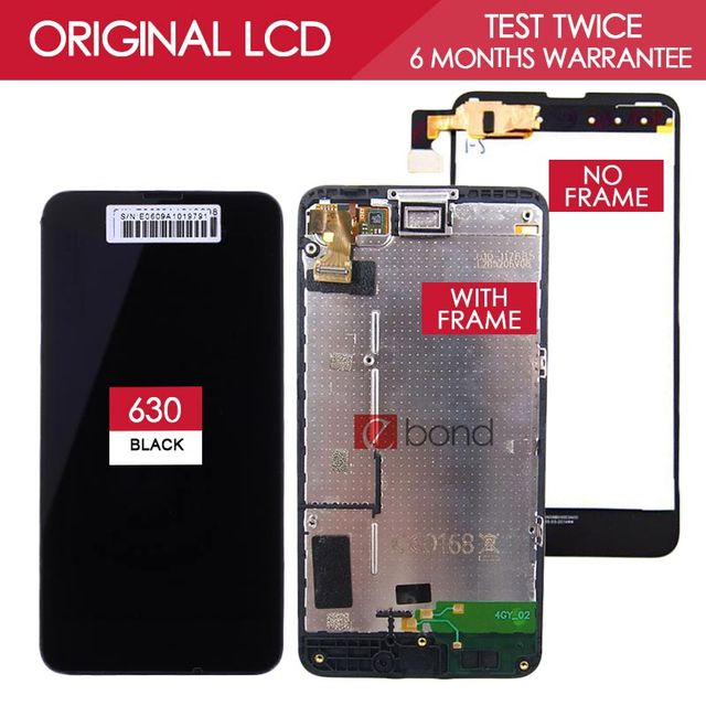 100% Tested Original 4.5 inch OLED 854x480 LCD For NOKIA Lumia 630 Display Assembly Frame Touch Screen Digitizer Replace