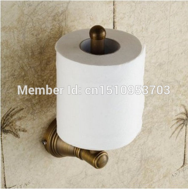 New US Free Shipping Wholesale And Retail Vintage Euro Antique Brass Bathroom Toilet Paper Holder Roll Upright Tissue Shelf free shipping wholesale and retail promotion new antique brass bathroom accessories embossed shelf cosmetic dual glass tiers