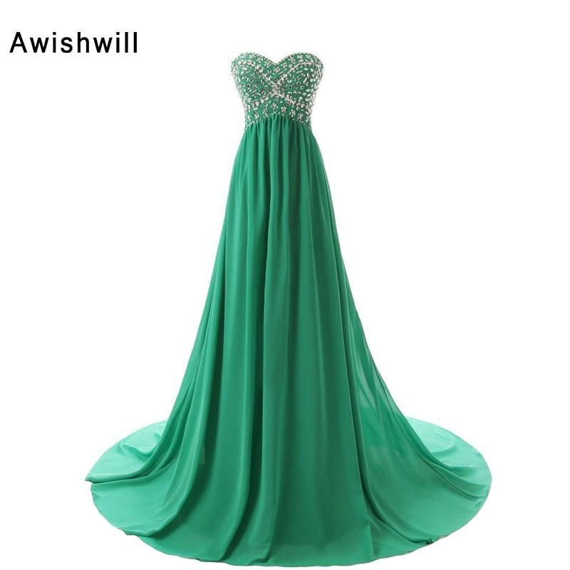 Custom Made Sweep Train Empire Midja Beadings Chiffon Long Party Dress Vestido de Festa Longo Green Evening Dresses Gravid