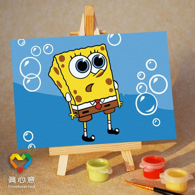 Diy digital oil painting cartoon oil painting mini painting colored drawing - dream 10 15 belt easel