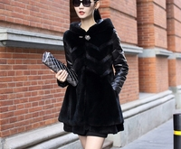 Free Shipping The New 2015 Hot Sale Winter Clothing Leather Fur Coats Hooded Rabbit Hair