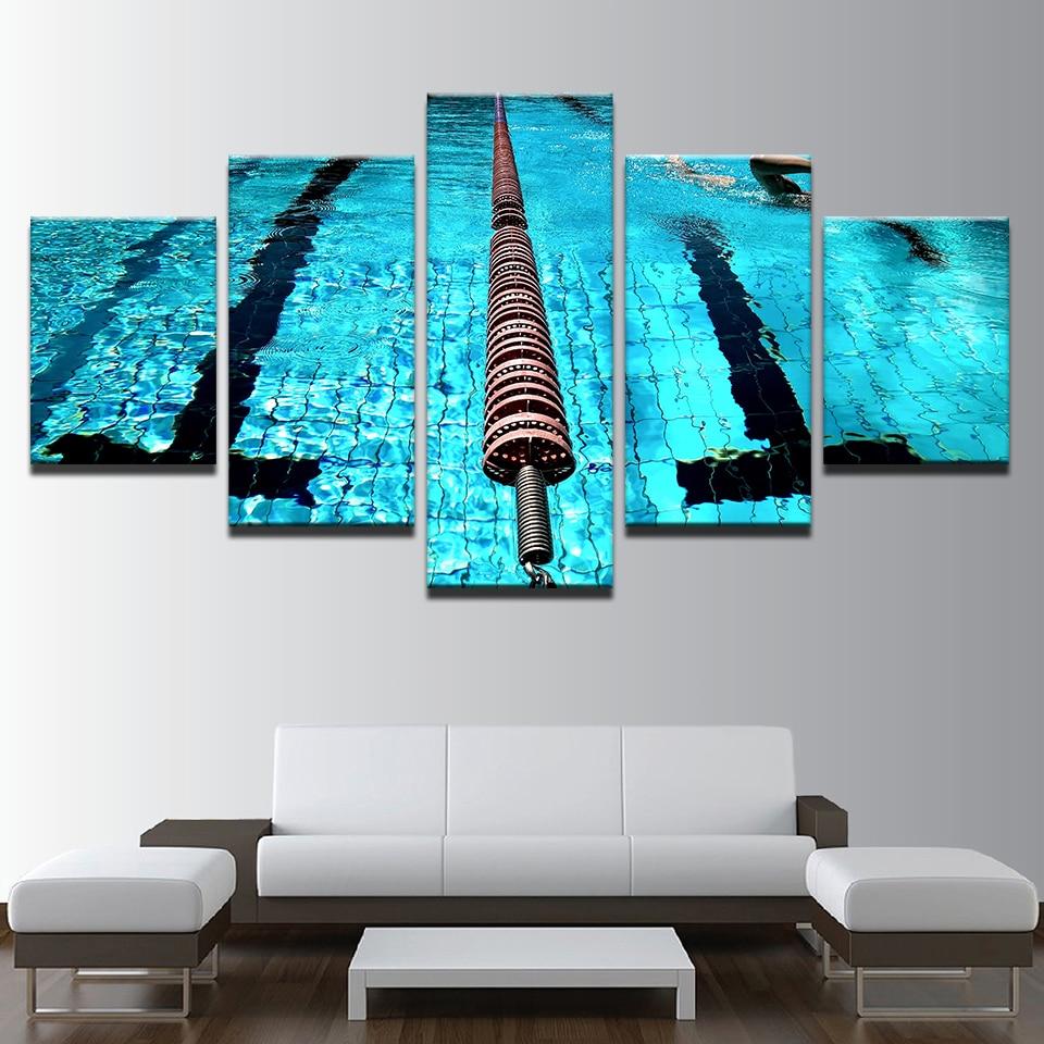 5 Pieces Blue Swimming Pool Landscape Pictures Canvas