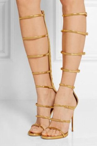 Top Quality Brand Gold Silver Metallic Leather Cut-out Buckle High Heel Sandals Thin Heel Peep Toe Gladiator Sandals Boots Women