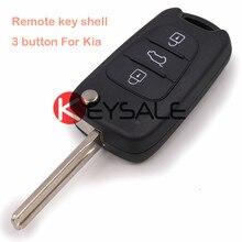 Nueva Plegable Flip Control Remoto Clave Shell Case Fob 3 Botón para Kia Picanto Ceed Pro Sportage Rio Lámina Sin Cortar Con Ranura y Logotipo