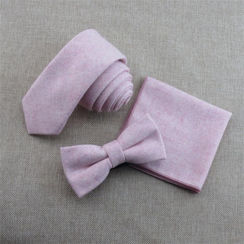 Mens Wool Necktie Ties For Wedding Bowtie Suits Handkerchief Sets Formal Skinny Wool Ties For Mens Brand Tie Set