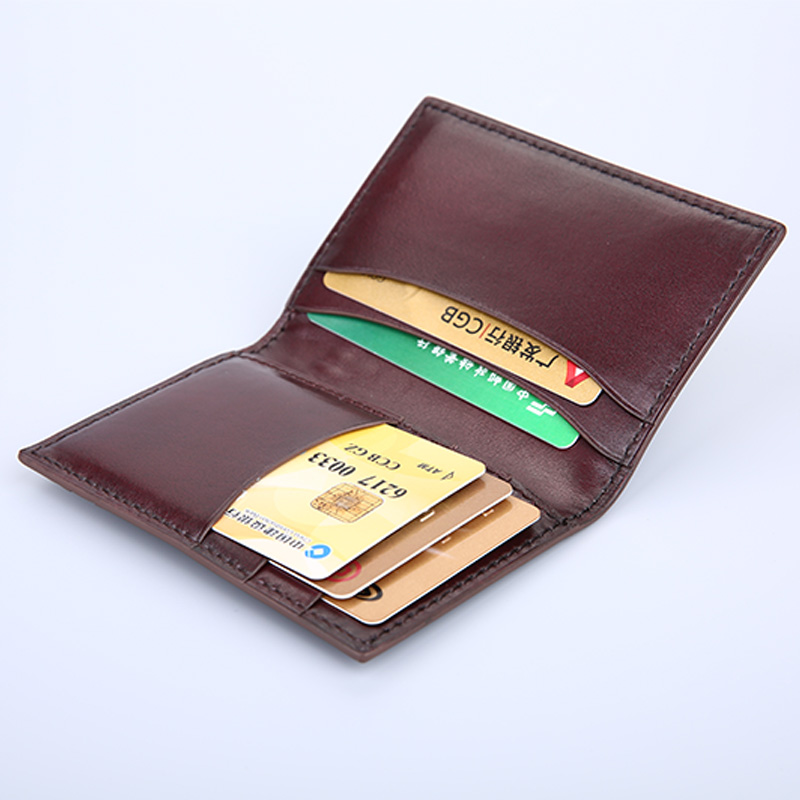 TERSE_Engraving service handmade leather card wallet men in coffee/ burgundy/ blue genuine leatehr card holder OEM ODM