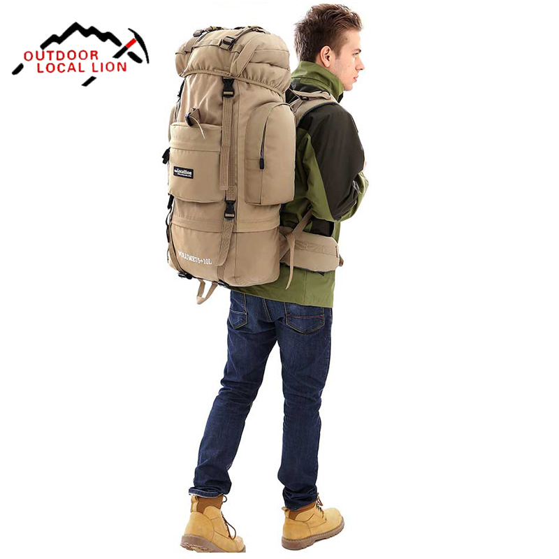 Large 85L Local lion Professional Waterproof Travel Backpack Men Camp Hike Mochilas Climb Bagpack Women Bag Pack 2016 large 75l feel pioneer professional waterproof cr travel backpack camp hike mochilas climb bagpack laptop bag pack for men women