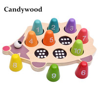 Candywood Cartoon Animal Hedgehog Digital Paired Educational Math Toys For Children kids Montessori Learning wooden puzzle toy