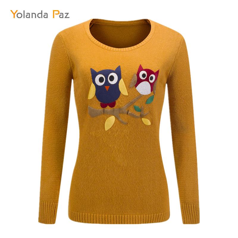 Yolanda Paz new 2019 autumn winter female cartoon owl pattern long sleeves o neck knitted pullover high quality women sweater