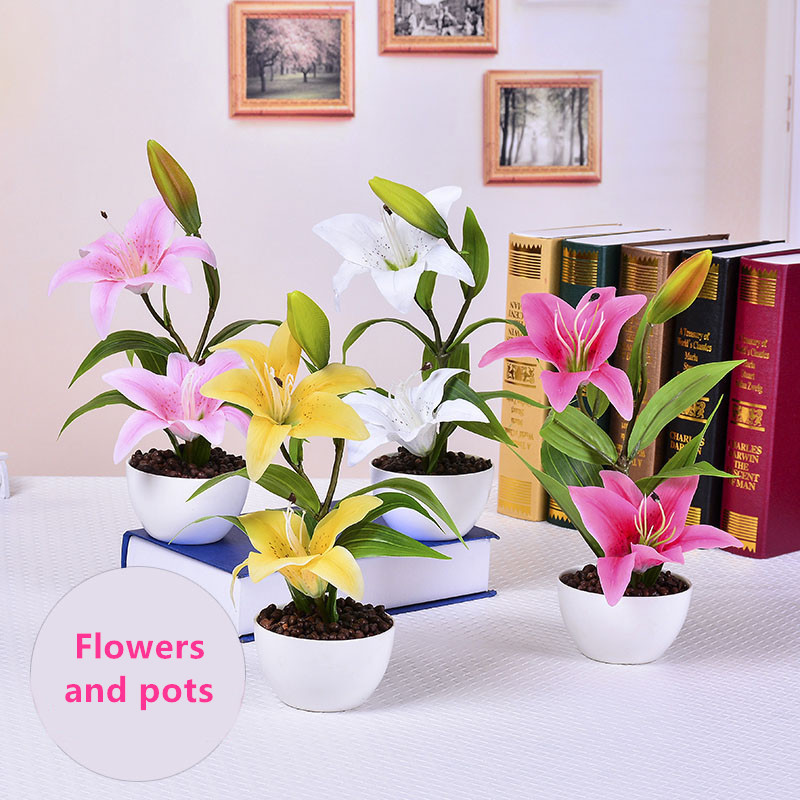European Style Floral Living Room Home Furnishings PU Lily Potted Fake Flowers Set Ornaments Green Tree