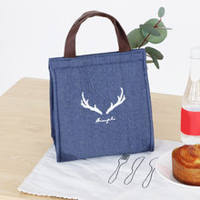 2019 Hot Sales Kitchen Storage Bag Denim Thick Aluminum Foil Thermal Preservation Lunch Box Bag(China)