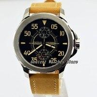 44mm parnis safira vidro gaivota luminosa reserva de energia automática relógio masculino