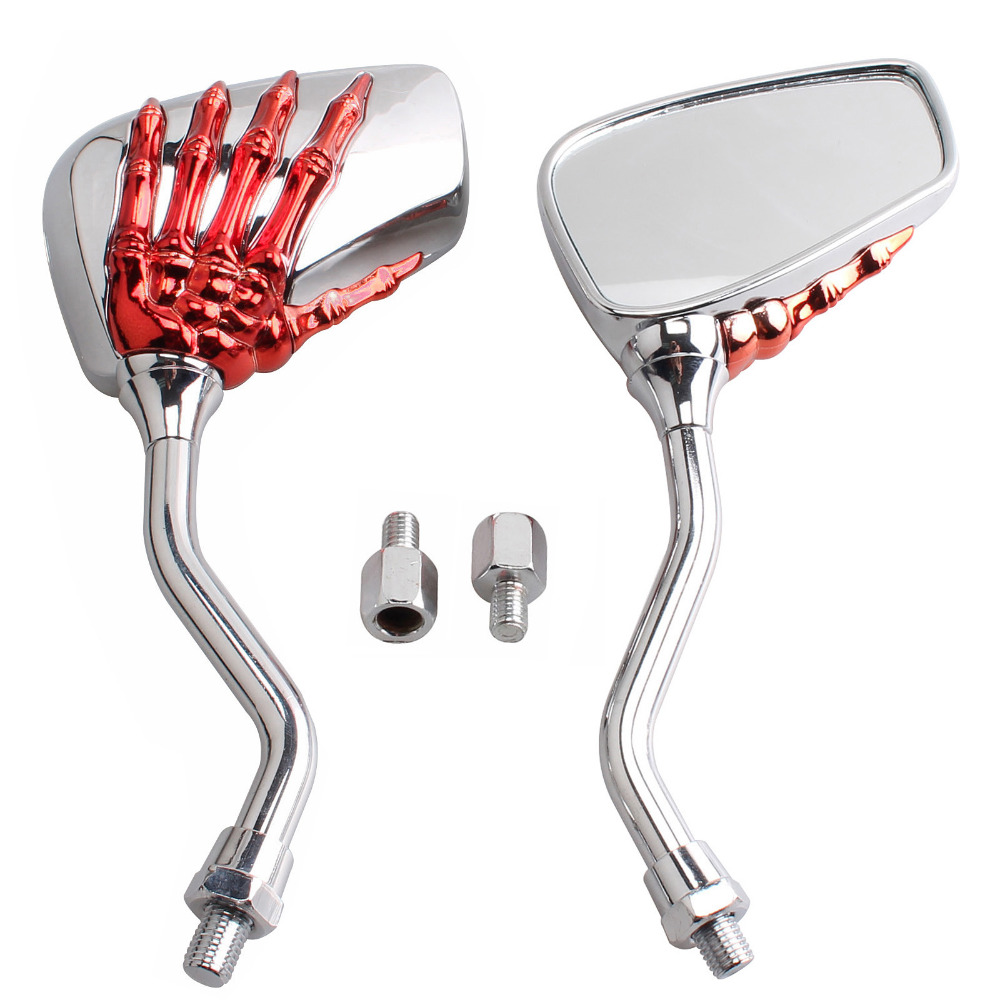 8MM 10MM Universal Motorcycle Mirror Red Skeleton Skull Hand Claw Rearview Mirror Scooter Modification For Honda Harley Yamaha