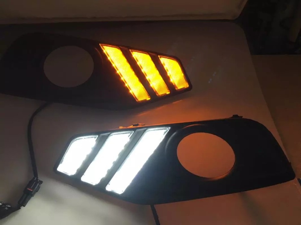 Osmrk led drl daytime running light for Nissan tiida 2016, with yellow turn signal, top quality