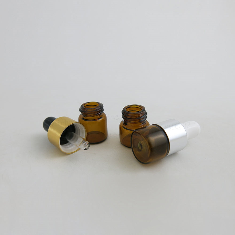 Купить с кэшбэком 100 x  1ML Amber Small Glass Dropper Bottles For Essential Oil Perfume Sampling tiny portable Containers Mini Perfume Drop Vials