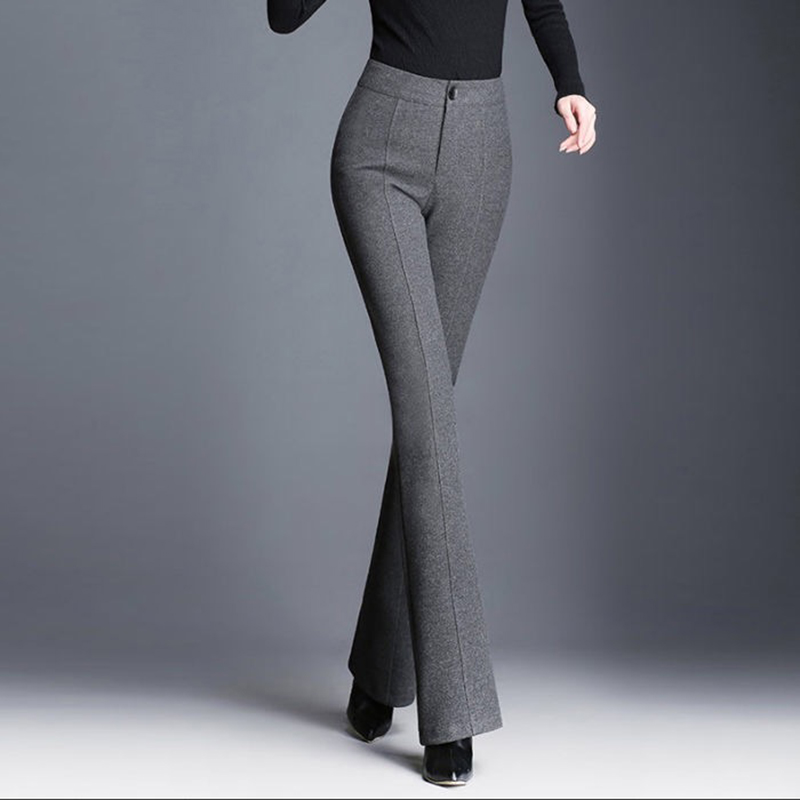 Plus Size 5XL Woolen Flare Pants Women 2018 Street Wear Solid Colors High Waist Trousers Ladies Casual Warm Autumn Winter Pants
