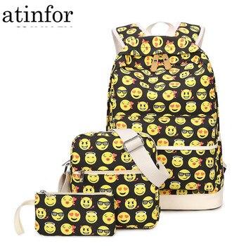 Set Casual Backpack Women 3D Smiley Emoji Face Printing Canvas Backpacks School Backbags for Teenage Girls Bagpack