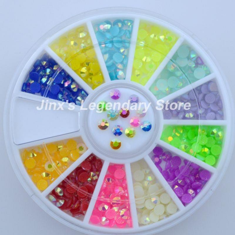 LOOK HERE! High Quality Hot Sale Fashion 12 colour 3D Glitter metal rhinestones nail art Decoration DIY Wheel JSL7019