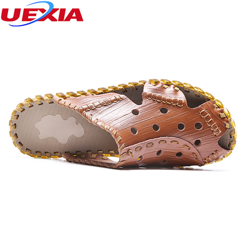 UEXIA New Outdoor Handmade Soft Bottom Men Sandals Slippers Leather Cowhide Male Summer Shoes Outdoor Casual Men Leather Sandals