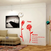 Rose flower Acrylic 3d three dimensional wall stickers Living room bedroom bedside restaurant Romantic Home Decoration
