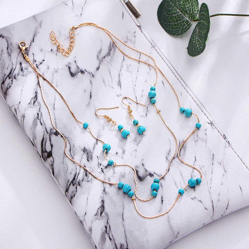 Afrikanische Acryl Perlen Schmuck Sets Böhmen Halsketten Ohrringe Frauen Mode Erklärung Multilayer Halskette Schmuck Set