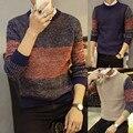 2016 outono masculino camisola camisola collar adolescentes de correspondência de cores
