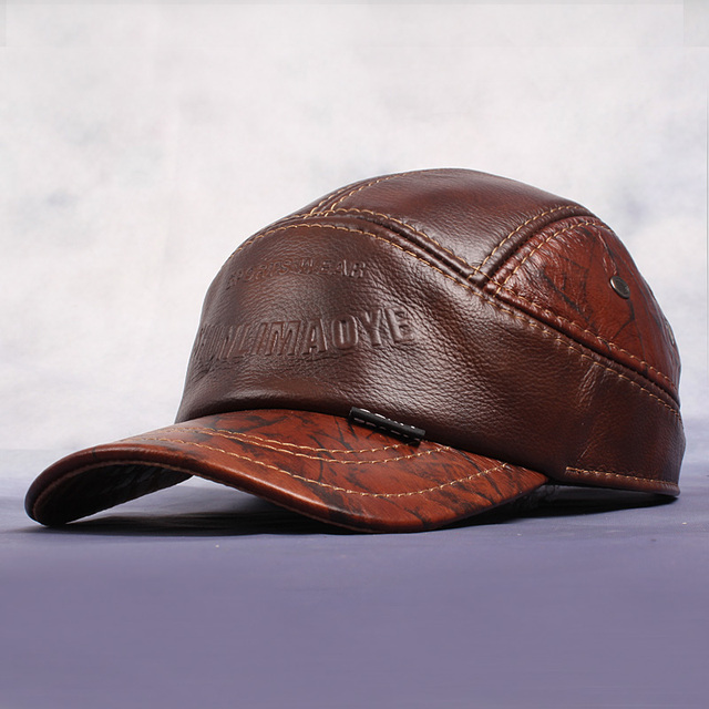 Antique Adjustable Baseball Hats For Men Winter Genuine Leather Hat Casual Caps High Quality Cowhide Outdoor Cap For Male