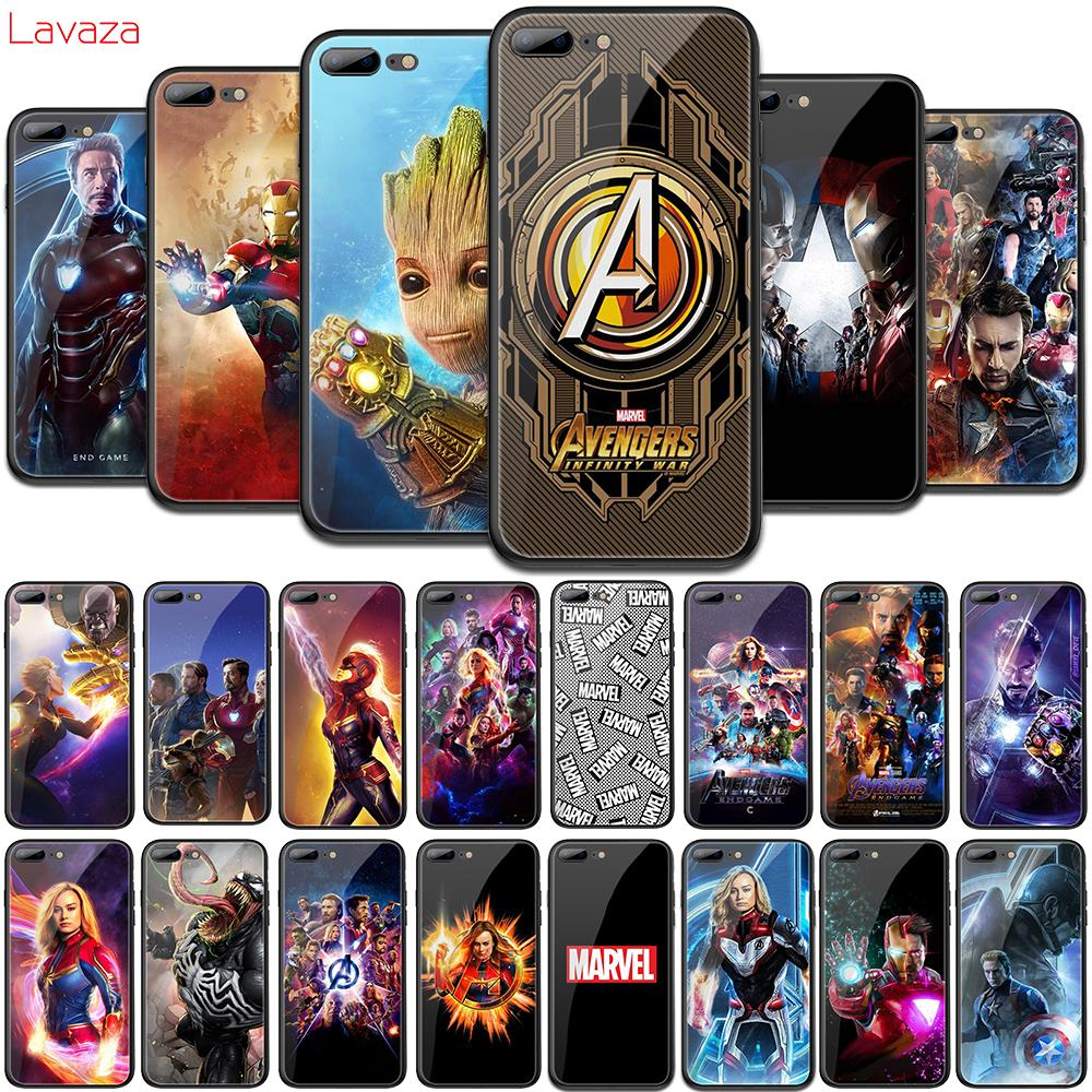 Lavaza Marvel MCU Avengers Endgame Tempered Glass Soft Case for iPhone 6 6s 7 8 Plus X 5 5S SE for iPhone XS Max XR TPU Cover marvel glass iphone case