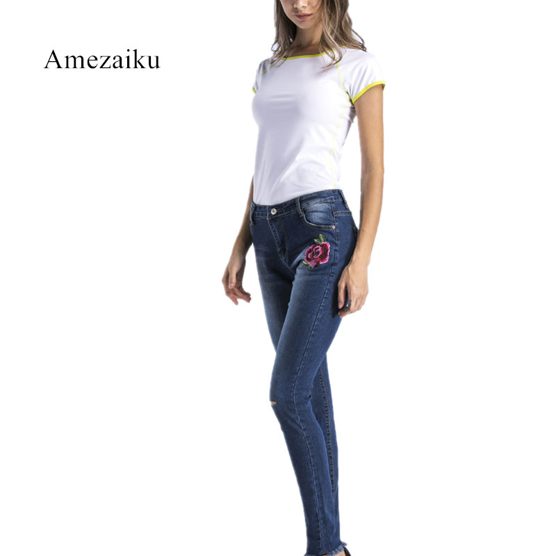 Autumn new Fashion Stretchy Embroidered Hole Ripped Jeans S-3XL Women Cool Denim Pencil Pants 2017 Vintage Casual Jeans autumn new fashion cotton jeans women loose low waist washed vintage big hole ripped long denim pencil pants casual girl pants