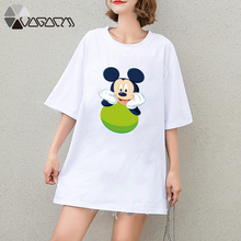 2019 Summer Clothes Women Mickey Mouse Print Tops Tee Short Sleeve White Loose Cartoon Plus Size T Shirts Casual Tshirt