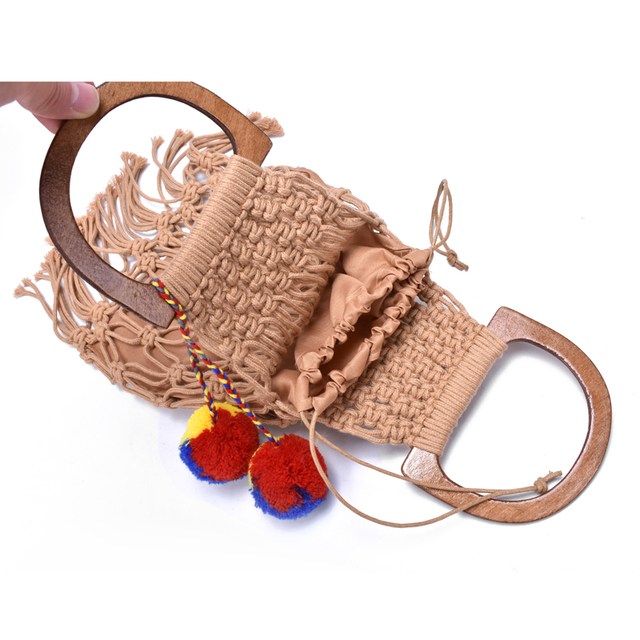 Hollow Tassel Rattan Bags Handmade Wood Handle Womens Handbags Woven Rope Straw Bag Casual Totes Summer Beach Purse Shopping Sac 6