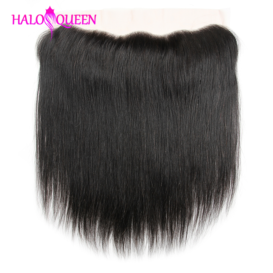 "HALOQUEEN  Hair Brazilian 13x4 Straight Human Hair Free/Middle/Three Part Lace Frontal 8""-16"" Natural Color Free Shipping(China)"
