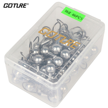 Goture 20-50pcs Lead Jig Head Fishing Hook Carbon Steel Fishhooks 1-20g For Soft Lure With Lure Tackle Box