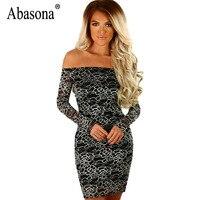 Abasona Women Black Lace Dress Autumn Off Shoulder Hollow Out Printed Short Dresses Women Evening Party