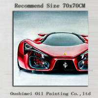 Professional Artist Handmade High Quality Modern Wall Artwork Beautiful Red Car Oil Painting On Canvas Modern Car Painting