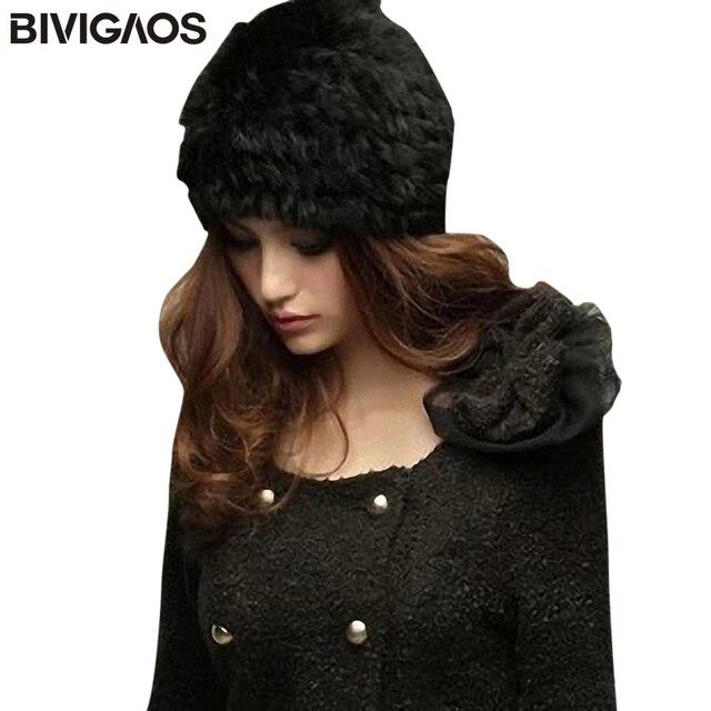 871bbc1eac3e31 New Fashion Fall Winter Warm Womens Beanie Rabbit Hair Hats Women Fake Mink  Fur Hat Black Faux Fur Cap Beanies Hats For Women