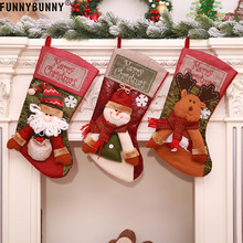 FUNNYBUNNY Santa Claus Snowman Elk Christmas Stocking Children Gift Bags Festival Showcase Hanging Ornament Home Decorations
