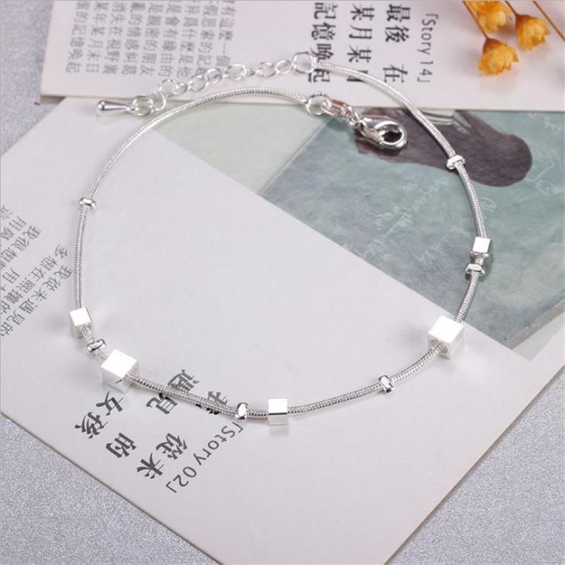 KOFSAC Trendy Jewelry Ankle Chain Bracelet 925 Sterling Silver Square Chain Anklets For Women Lovely Korea Style Jewelry Gifts