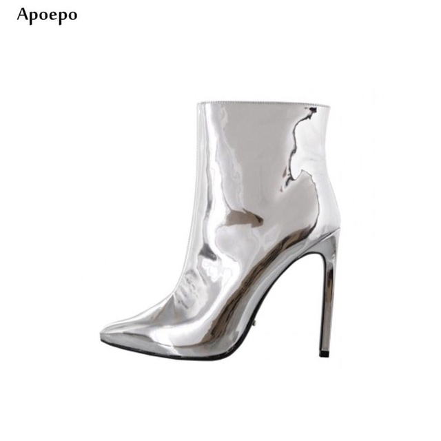3c0c3a0bd8f New Pointed Toe Short Boots for Woman 2018 Silver Metallic Leather High  Heel Boots Sexy Thin Heels Ankle Boots