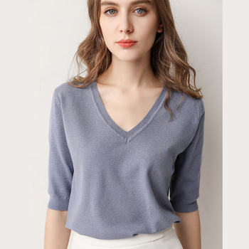 Spring Summer Women Sweaters Pullovers Solid V-neck Short-sleeved Knit Cashmere Sweater Thin Casual Tops Jumper Female RE2531 3